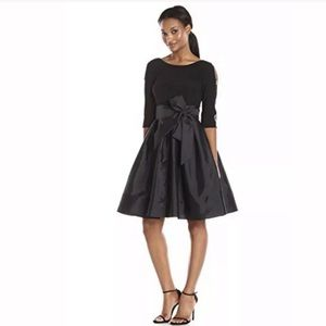 Adrianna Papell Womens Taffeta Black Fit and Flare